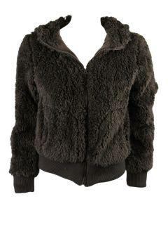 Me Jane Womens Brown Faux Fur Fleece Hooded Zip Up Jacket L $50 New
