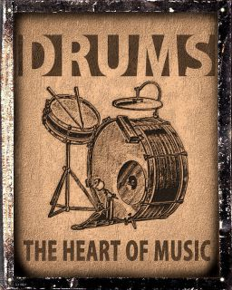 DRUMS JAZZ BLUES SIGN band music bass VINTAGE plaque MUSIC STUDIO wall