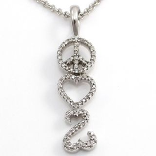 Jane Seymour Peace Love Open Heart Diamond Pendant Necklace Sterling