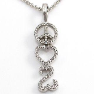 Jane Seymour Peace Love Open Heart Diamond Pendant Necklace Sterling