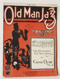 1920 Old Man Jazz Piano Vocal Sheet Music Excentric Fox Trot Band