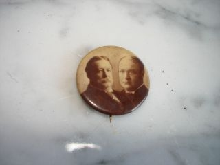 Campaign Pin William TAFT James Sherman Photo Button Pinback President