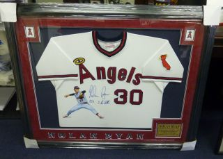 Nolan Ryan Signed Custom Painted Framed Angels Jersey JSA COA 1973 2