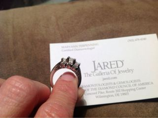 Jared 3 Stone Diamond Ring 1ct TW Princess Cut 14k White Gold