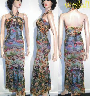 Authentic JEAN PAUL GAULTIER mesh Blue FLAMINGO halter Dress NWT