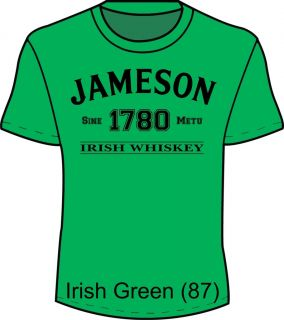 St Paddys Day Jameson Whiskey Fun T Shirt Drink Green