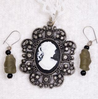 Vintage Jewelry Set Victorian Style Black Cameo Pendant Earrings