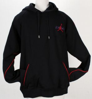 Nike Air Jordan Jumpman Retro 7 Pullover Hoodie Black W Red Piping 3XL