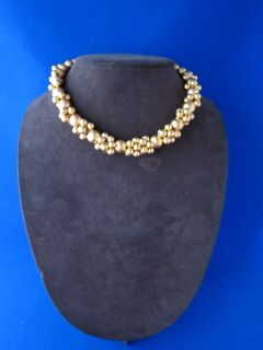 Robert Lee Morris Donna Karan Gold Plated Brass Chunky Caviar Necklace