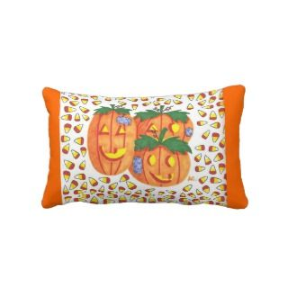Halloween pumpkins throw lumbar pillow