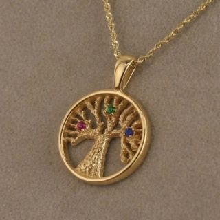 Tree of Life Family Birthstone Pendant 14kt Yellow Gold
