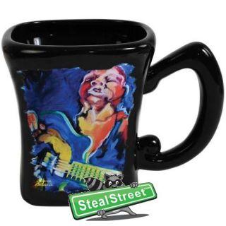 Black Ceramic Coffee Mug with Jazz Blues Guitar Musician Decoration