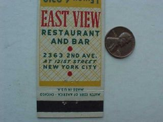 1940s WWII Era New York City East View Restaurant and Bar Matchcover