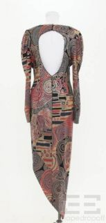 Janine Black Mesh Multicolor Shimmer Long Sleeve Dress Size Large