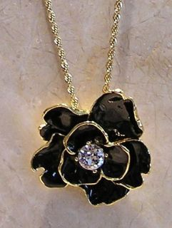 Kenneth Jay Lane Couture Black Camellia Flower Pendant Necklace