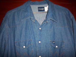 Mens WRANGLER Cowboy cut snap front blue jean Denim Shirt XXL 20 X 34