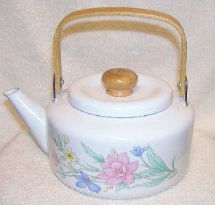 Jay Import Co 1987 Floral Enamel Teapot Wooden Handle Nice