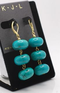 Kenneth Jay Lane KJL Turquoise Bead Dangle Earrings New