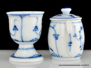 Royal Copenhagen Pattern Egg Cup & Jam Jar Blue Fluted Plain Design