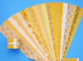 Yellow Jelly Roll Fabric Quilt Strips Cotton No Dups Die Cut 20 Prints