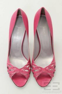 Jean Michel Cazabat Pink Leather Cutout Peep Toe Heels Size 38 5