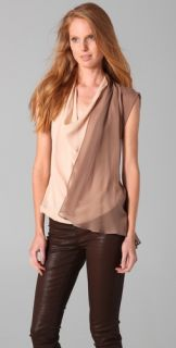 Haute Hippie Draped Two Tone Blouse