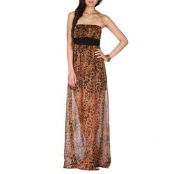 New Jealous Tomato Leopard Print Chiffon Strapless Long Maxi Dress