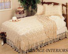 Ecru King Cotton Crochet Bedskirt Bed Skirt Dust Ruffle