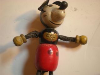 Antique Wooden Vintage Mickey Mouse Toy Figure Walt Disney Repair Free