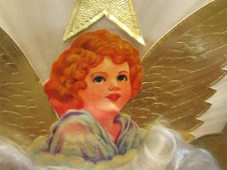 Spun Glass Angel Hair in Cloud Vintage Christmas Tree Topper Die Cut