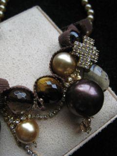 Chan Luu Tigerseye Smokey Quartz Gold Pearl Crystal Tiara Necklace New