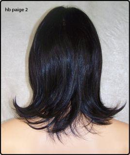 Dark Brown Human Hair Blend Wig Heat OK Iron Safe Skin Top Fringe