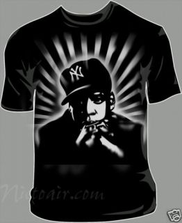 Jay Z Airbrush Stencil Shirt Airbrushed