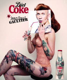 Jean Paul Gaultier Diet Coke Tattoo Aluminium Coca Cola Bottle limited