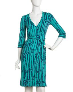 JB by Julie Brown Chain Print Jersey Wrap Dress