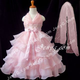 SB01 Flower Girl Pageant Formal Communions Party Gowns Dress Pink 2 10
