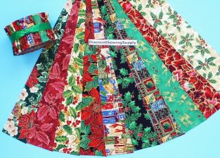 Xmas Jelly Roll Quilt Strips Metallic Cotton Fabric Die Cut 10 Prints