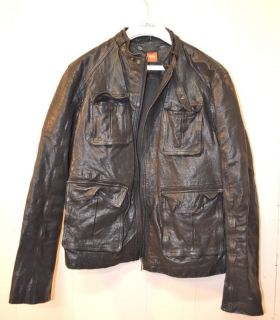LEATHER DRAGON MOTORCYCLE BIKER MILITARY JACKET COAT jean m l 40 50