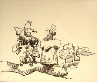 Signed Jeff Macnelly Shoe Orginal Art Drawing