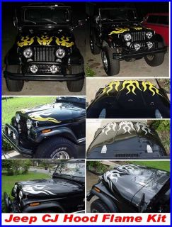 Jeep CJ Renegade Wrangler Hood Flame Flames Decals