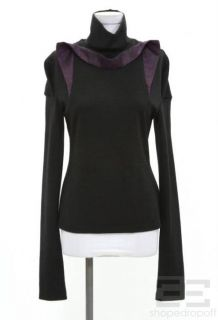 Jean Pierre Braganza Black Dark Purple Trim Turtleneck Top Size Large