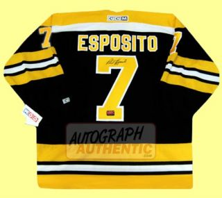 Boston Bruins jersey autographed by Phil Esposito. The jersey is semi