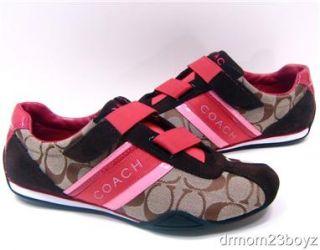 New NIB Coach Jenney Khaki Light Pink & Bright Pink Signature Velcro