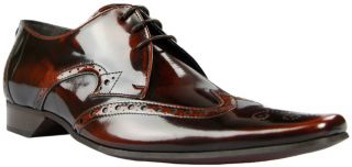Jeffery West Black Line Brown High Shine Brogue Shoes