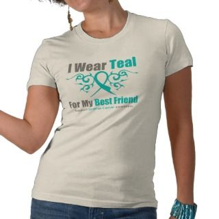Ovarian Cancer Teal Tribal Ribbon Best Friend Shirts