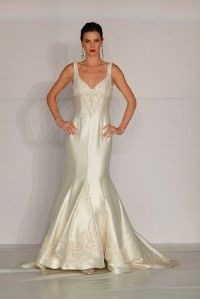 Authentic Anne Barge 598 Silk Sleeveless Ivory V Neck Couture Bridal