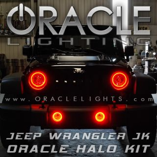 Jeep Wrangler JK Oracle Headlights Fog Lights Halo Kit Red Demon Eye