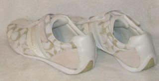 Coach Signature Jenney Authentic Designer White Khaki Shoes 8 New