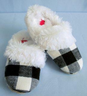 Jenni Womens Ladies Black Plaid Fur Slippers s 5 6 9427