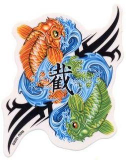 Pair 2 Lucky Koi Yin Yang Stickers Decals for Car